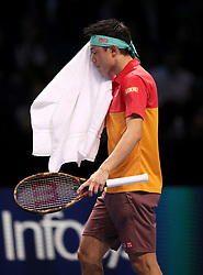 Japan's Kei Nishikori shows his dejection during the Men's Singles match during day five of the Nitto ATP Finals at The O2 Arena, London. PRESS ASSOCIATION Photo. Picture date: Thursday November 15, 2018. See PA story TENNIS London. Photo credit should read: John Walton/PA Wire. RESTRICTIONS: Editorial use only, No commercial use without prior permission.