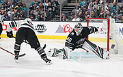 Jan 26, 2019; San Jose, CA, USA; Metropolitan Division player Mathew Barzal (13) of the New York Islanders shoots against Central Division goaltender Devan Dubnyk (40) of the Minnesota Wild in the 2019 NHL All Star Game at SAP Center.