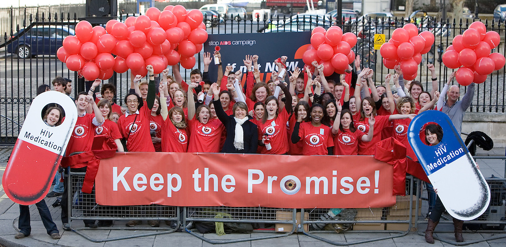 Barbara Stocking Cheif Exec of Oxfam with student campaigners for the STOPS AIDS Coalition. © Andy Aitchison