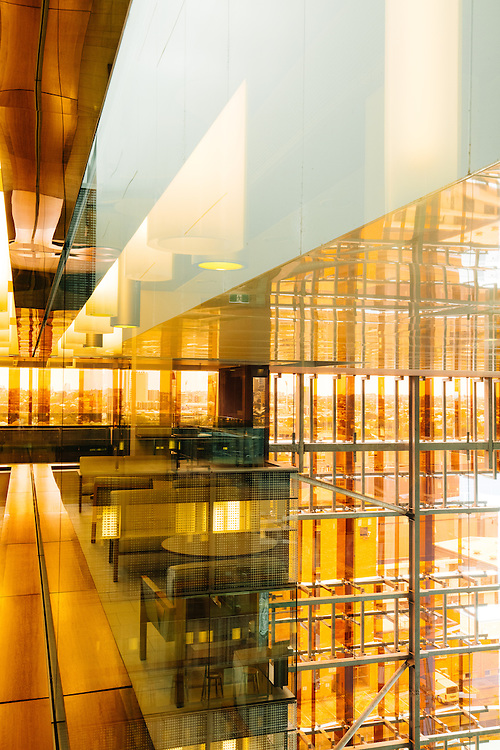 Interior glass reflections and surfaces of the Translational Research Institute (TRI) building in Brisbane. Designed by Donovan Hill & Wilson Architects.