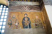 Turkey, Istanbul, Interior of the Hagia Sophia Museum religious Mosaic art The Virgin and Child enthroned