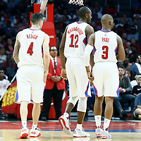 07 November 2016: Los Angeles Clippers guard J.J. Redick (4), Los Angeles Clippers forward Luc Mbah a Moute (12) and Los Angeles Clippers guard Chris Paul (3) are seen during the LA Clippers 114-82 victory over the Detroit Pistons, at the Staples Center, Los Angeles, California, USA.