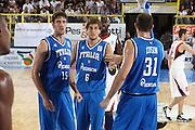 DESCRIZIONE : Cagliari Eurobasket Men 2009 Additional Qualifying Round Italia Francia<br /> GIOCATORE : Stefano Mancinelli Angelo Gigli<br /> SQUADRA : Italy Italia Nazionale Maschile<br /> EVENTO : Eurobasket Men 2009 Additional Qualifying Round <br /> GARA : Italia Francia Italy France<br /> DATA : 05/08/2009 <br /> CATEGORIA : ritratto esultanza<br /> SPORT : Pallacanestro <br /> AUTORE : Agenzia Ciamillo-Castoria/C.De Massis
