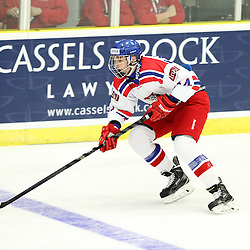 COBOURG, - Dec 13, 2015 -  Game #1 - Czech Republic vs Canada West at the 2015 World Junior A Challenge at the Cobourg Community Centre, ON. Daniel Kurovsky #14 of Team Czech Republic skates with the puck during the first period.(Photo: Tim Bates / OJHL Images)