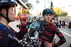 Hannah Barnes (GBR) reflects on the stage at Setmana Ciclista Valenciana 2019 - Stage 1, a 126 km road race from Cullera to Gandia, Spain on February 21, 2019. Photo by Sean Robinson/velofocus.com