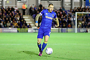 AFC Wimbledon defender Barry Fuller (2) dribbling during the EFL Sky Bet League 1 match between AFC Wimbledon and Milton Keynes Dons at the Cherry Red Records Stadium, Kingston, England on 22 September 2017. Photo by Matthew Redman.