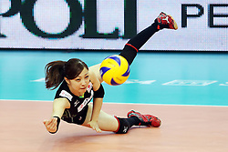 Japan Arisa Sato digs a ball