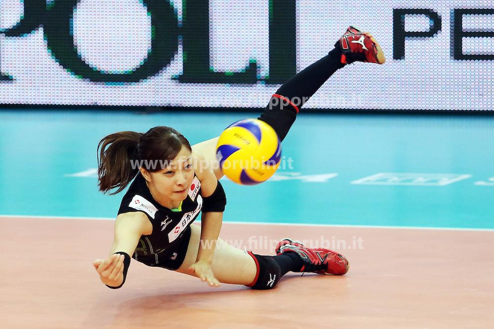 Japan Arisa Sato digs a ball