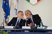 Conferenza stampa per la presentazione del campionato Under 20 che si terr&agrave; a Lignano Sabbiadoro<br /> Nella foto: Gianni Petrucci Giovanni Malago <br /> Agenzia Ciamillo/Castoria
