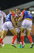 Jermaine McGillvary of England and Michael Goudemand (left) and Bastien Escmilla (right) of France during the International Friendly match at Leigh Sports Village, Leigh<br /> Picture by Steve McCormick/Focus Images Ltd 07545 862647<br /> 17/10/2018