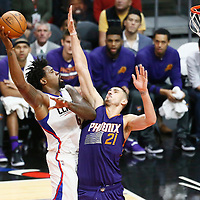 31 October 2016: Los Angeles Clippers center DeAndre Jordan (6) goes for the sky hook over Phoenix Suns center Alex Len (21) during the Los Angeles Clippers 116-98 victory over the Phoenix Suns, at the Staples Center, Los Angeles, California, USA.