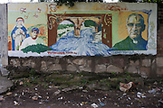 "A mural near the Titihuapa River, primary source of water that would be affected by the Pacific Rim mining project, features murdered human rights advocate Monsignor Oscar Romero and reads: ""Titihuapa, Route of Resistance."" Pacific Rim's controversial El Dorado gold mine has been the focus of numerous social conflicts at local and national level. Three anti-mining local leaders were murdered in 2009. While a year before, former president Antonio Saca refused to authorize the company's mining permit. This action prompted Pacific Rim to invoked a provision of the Central American Free Trade Agreement (CAFTA) to place the matter in the hands of an international arbitration court. Oceana Gold, who took over Pacific Rim on October 2013 for US $10.2 million , now seeks US $300 million for damages agains the State of El Salvador. San Isidro, Cabañas, El Salvador. September 16, 2014."