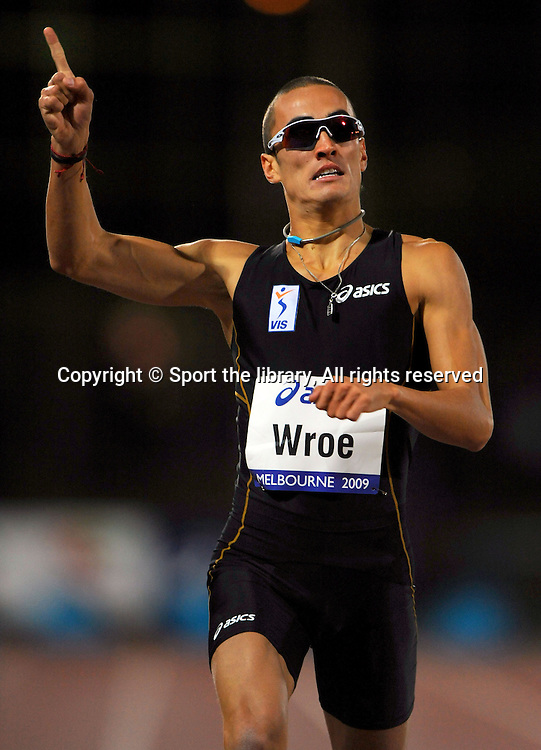 Sean Wroe (AUS) 400m winner<br /> 2009 IAAF World Athletics Tour<br /> Melbourne Grand Prix Meet<br /> Olympic Park, AUS/March 5th<br /> &copy; Sport the library / Jeff Crow