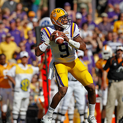 Oct 2, 2010; Baton Rouge, LA, USA; LSU Tigers quarterback Jordan Jefferson (9) against the Tennessee Volunteers during the first half at Tiger Stadium.  Mandatory Credit: Derick E. Hingle