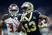 NEW ORLEANS, LA - SEPTEMBER 9:  Michael Thomas #13 of the New Orleans Saints runs the ball during a game against the Tampa Bay Buccaneers at Mercedes-Benz Superdome on September 9, 2018 in New Orleans, Louisiana.  The Buccaneers defeated the Saints 48-40.  (Photo by Wesley Hitt/Getty Images) *** Local Caption *** Michael Thomas