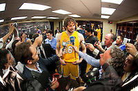 17 June 2010: Forward Pau Gasol of the Los Angeles Lakers speaks to the media after the Lakers defeat the Boston Celtics 83-79 and win the NBA championship in Game 7 of the NBA Finals at the STAPLES Center in Los Angeles, CA.