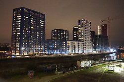 © Licensed to London News Pictures. 06/01/2019. London UK: The City Island development in London's docklands , Photo credit: Steve Poston/LNP