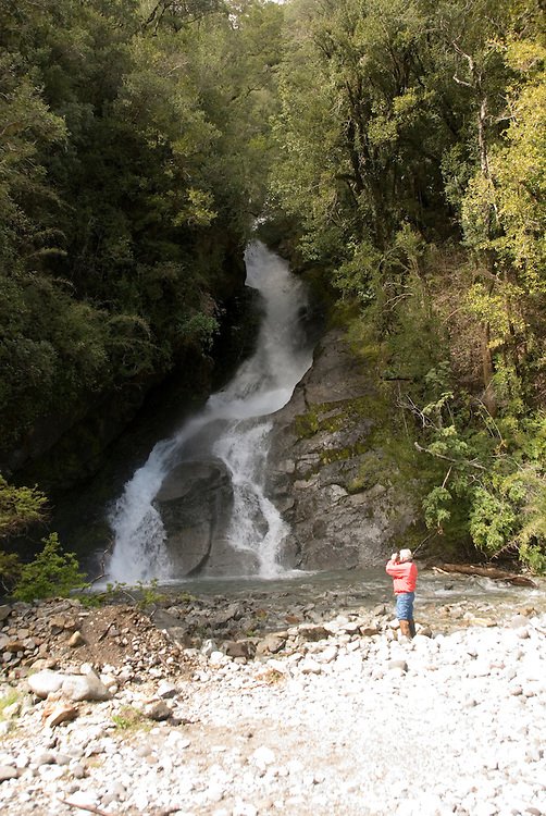 Chile, Lake Country: Waterfall Las Mellizas, or The Twins, near Peulla..Photo #: ch652-33279..Photo copyright Lee Foster www.fostertravel.com, lee@fostertravel.com, 510-549-2202.