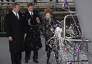President George W. Bush and Nancy Reagan at a ships christening in Newport News, Va.  Photo by Johnny Bivera