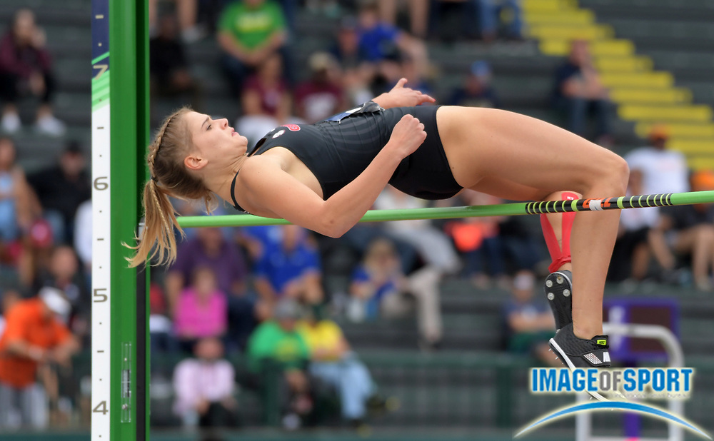 Jun 8, 2018; Eugene, OR, USA; Louisa Grauvogel of Georgia clears 5-8 3/4 (1.75m) in the heptathlon high jump  during the NCAA Track and Field championships at Hayward Field.
