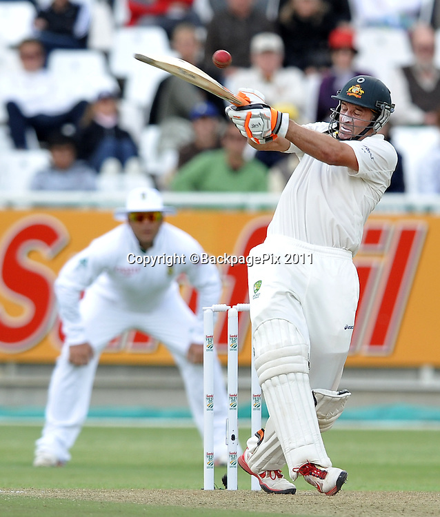 Michael Hussey of Australia swings and misses. South Africa v Australia, first test, day 1, Newlands, South Africa. 9 November 2011.<br /> <br /> &copy;Ryan Wilkisky/BackpagePix