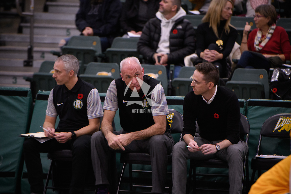 Head Coach Steve Burrows (5th Season) of the Regina Cougars in action during the home opener on November  10 at Centre for Kinesiology, Health and Sport. Credit: Arthur Ward/Arthur Images