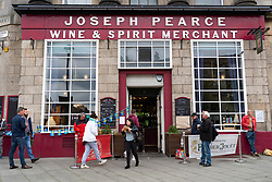 Edinburgh, Scotland, UK. 9 June 2020.  Joseph Pearce pub on Leith Walk is open for drinks to takeaway from the door. Iain Masterton/Alamy Live News