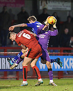 Crawley Town Goalkeeper Darryl Flahavan collects the ball under pressure during the Sky Bet League 2 match between Crawley Town and Notts County at the Checkatrade.com Stadium, Crawley, England on 16 January 2016. Photo by David Charbit.