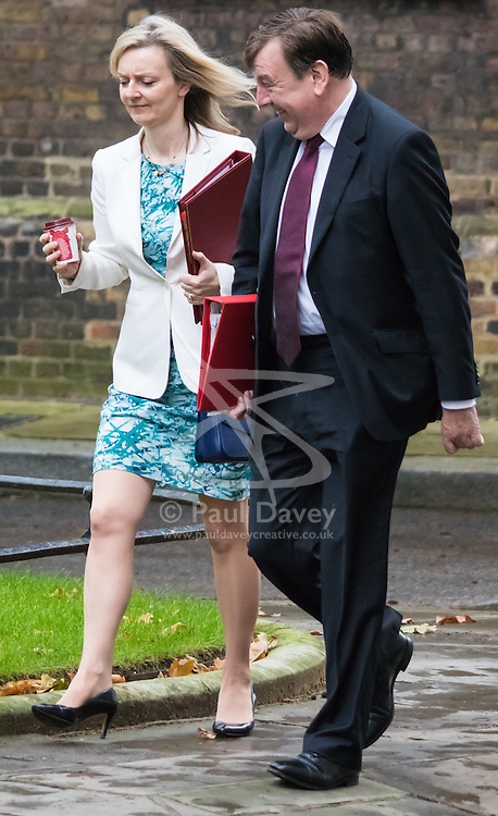 Downing Street, London, November 17th 2015. Culture Secretary John Whittingdale and Agriculture, food and environment Secretary Liz Truss arrive at Downing Street for the weekly cabinet meeting.