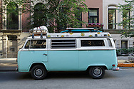 Baby blue Volkswagen VW bus seen on the upper eastside of Manhattan