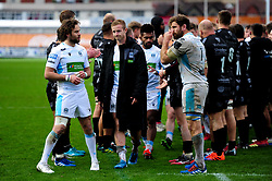 Glasgow Warriors walk through the tunnel formed by Dragons - Ryan Hiscott/JMP - 25/10/19 - SPORT - Rodney Parade - Newport, Wales -