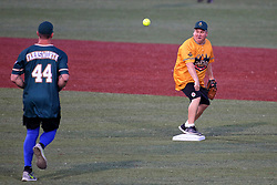 04 August 2018: Kyle Farnsworth moves to 2nd covered by Randy Reinhardt Legends Game for the Miracle League at Corn Crib Stadium on the campus of Heartland Community College in Normal Illinois<br /> <br /> Game featured retired MLB players from the ST. Louis Cardinals and the Chicago Cubs...  Derek Lee, Bobbie Dernier, Kyle Farnsworth, Les Lancaster, Ray Lankford, Kerry Robinson, Jim Edmonds, and Aramis Ramirez