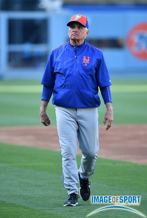May 9, 2016; Los Angeles, CA, USA; New York Mets manager Terry Collins (10) during a MLB game against the Los Angeles Dodgers at Dodger Stadium.