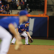 Daniel Murphy and David Wright, (left), New York Mets, fielding during the New York Mets Vs Los Angeles Dodgers, game three of the NL Division Series at Citi Field, Queens, New York. USA. 12th October 2015. Photo Tim Clayton for The Players Tribune