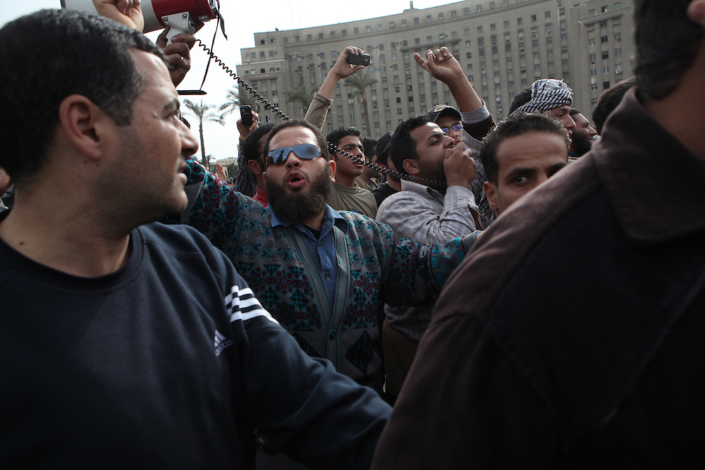 Protesters at Tahrir Square call for President Hosni Mubarak's ouster. .