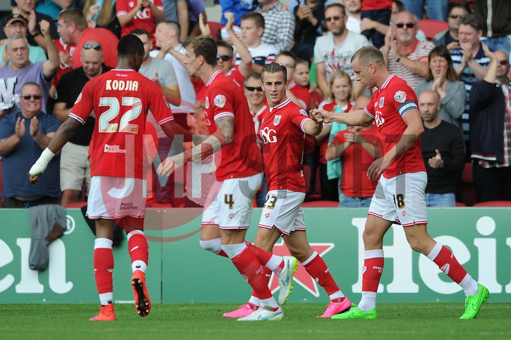 Aaron Wilbraham of Bristol City celebrates with his team mates after scoring - Mandatory byline: Dougie Allward/JMP - 07966386802 - 15/08/2015 - FOOTBALL - Ashton Gate -Bristol,England - Bristol City v Brentford - Sky Bet Championship