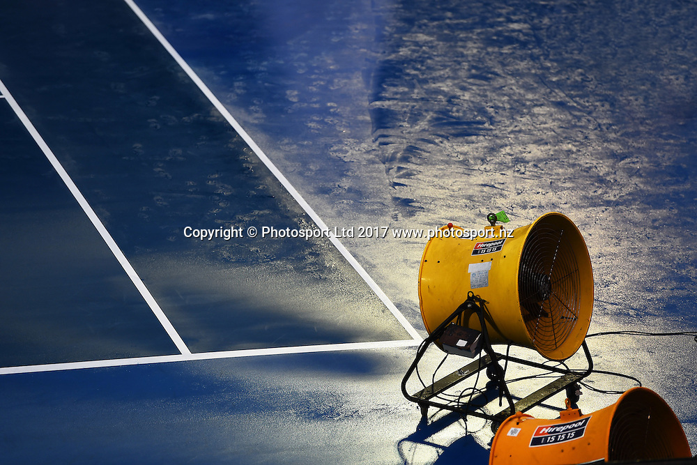 Rain delay during the ASB Classic WTA Womens Tournament Day 1. ASB Tennis Centre, Auckland, New Zealand. Monday 2 January 2017. ©Copyright Photo: Chris Symes / www.photosport.nz