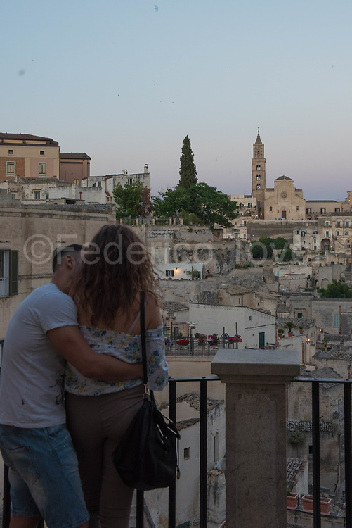 The view of  Sassi at dusk can be romantic