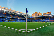 General stadium view inside Stamford Bridge, showing the corner flag, before the Champions League match between Chelsea and Valencia CF at Stamford Bridge, London, England on 17 September 2019.
