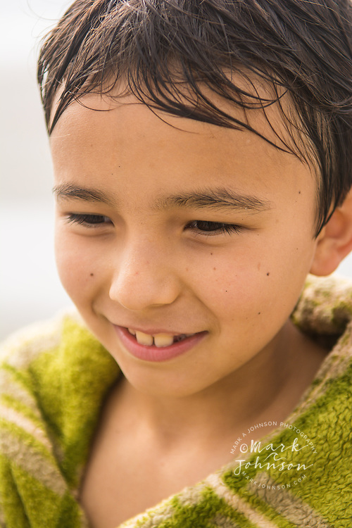 Portrait of smiling 8 year old Eurasian boy, Oregon, USA
