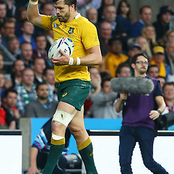 LONDON, ENGLAND - OCTOBER 31: Adam Ashley-Cooper of Australia during the Rugby World Cup Final match between New Zealand vs Australia Final, Twickenham, London on October 31, 2015 in London, England. (Photo by Steve Haag)