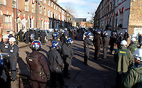 Riot police and Bailiffs evicting 21 houses of squatters in St. Agnes Place Kennington South London after 30 years of squatting the street.