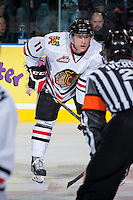 KELOWNA, CANADA - OCTOBER 4:  Adam De Champlain #11 of the Portland Winterhawks lines up against the Kelowna Rockets  at the Kelowna Rockets on October 4, 2013 at Prospera Place in Kelowna, British Columbia, Canada (Photo by Marissa Baecker/Shoot the Breeze) *** Local Caption ***