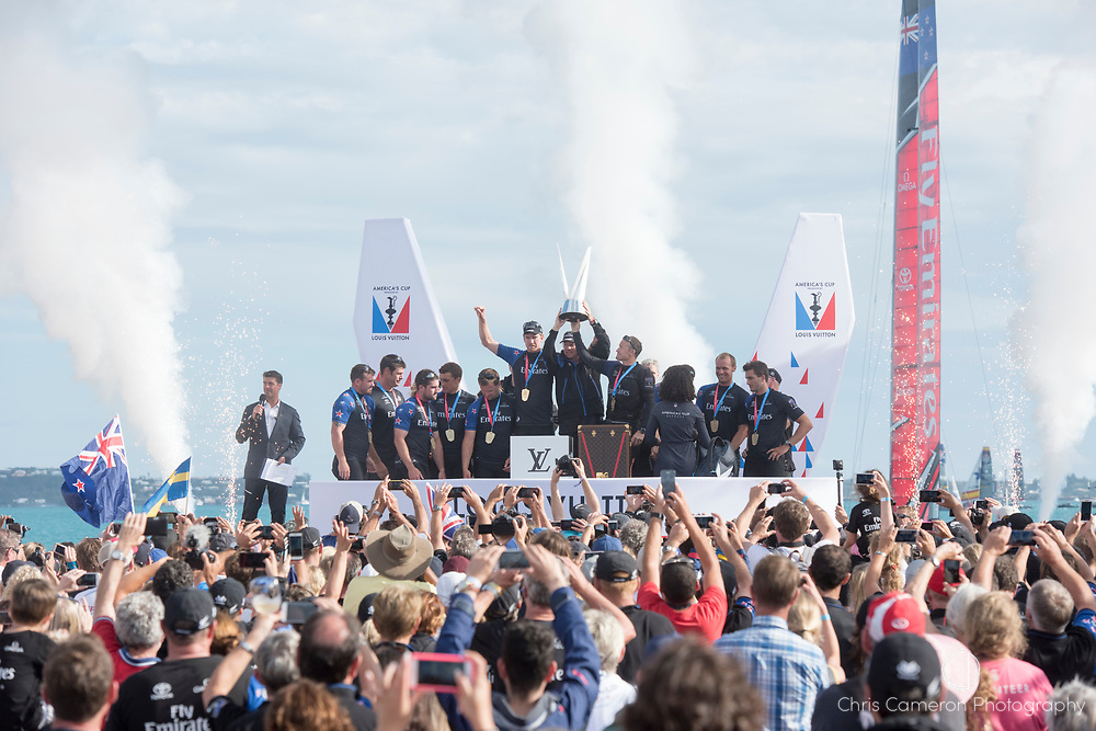 Americas's Cup Village, Bermuda 12th June 2017. Emirates Team New Zealand with the Louis Vuitton Challenger Trophy after winning the Louis Vuitton America's Cup Challenger series.