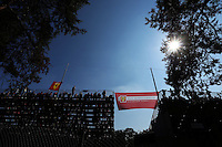 Fans and ferr flags in the grandstand.<br /> Italian Grand Prix, Saturday 6th September 2014. Monza Italy.