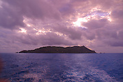 Pitcairn Island at sunset<br />