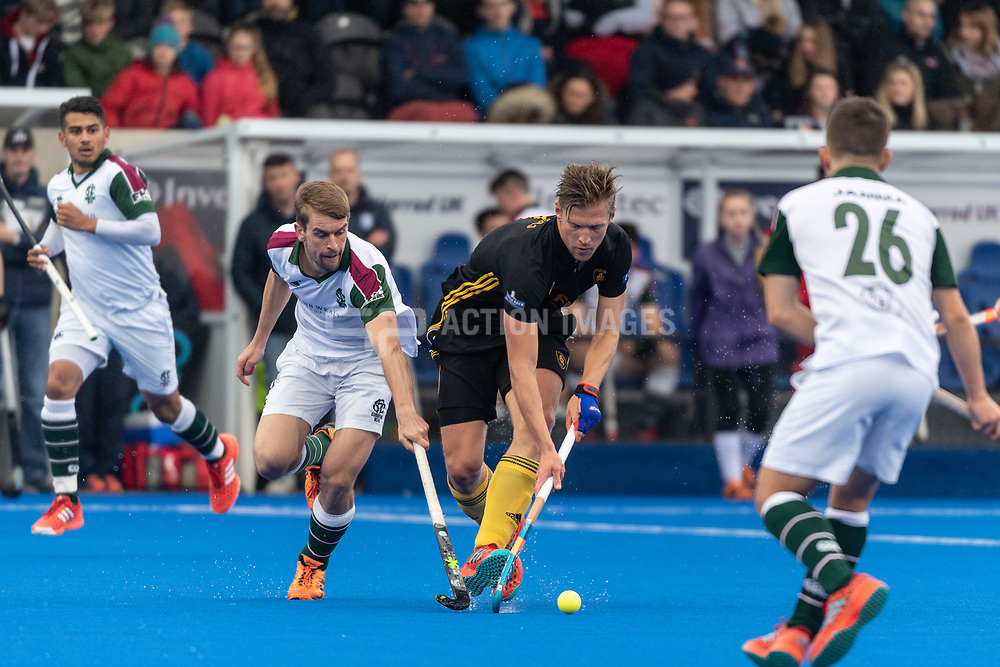 Beeston's Ollie Willars. Surbiton v Beeston - Men's Hockey League Finals, Lee Valley Hockey & Tennis Centre, London, UK on 28 April 2018. Photo: Simon Parker