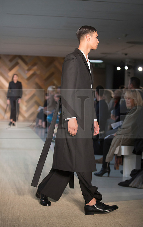 © Licensed to London News Pictures. 29/05/2014. London, England. Collection by Dan Prasad. 30 students of the Royal College of Art's prestigious MA Fashion programme presented their final collections in  a runway show at the RCA building in Kensington. Photo credit: Bettina Strenske/LNP