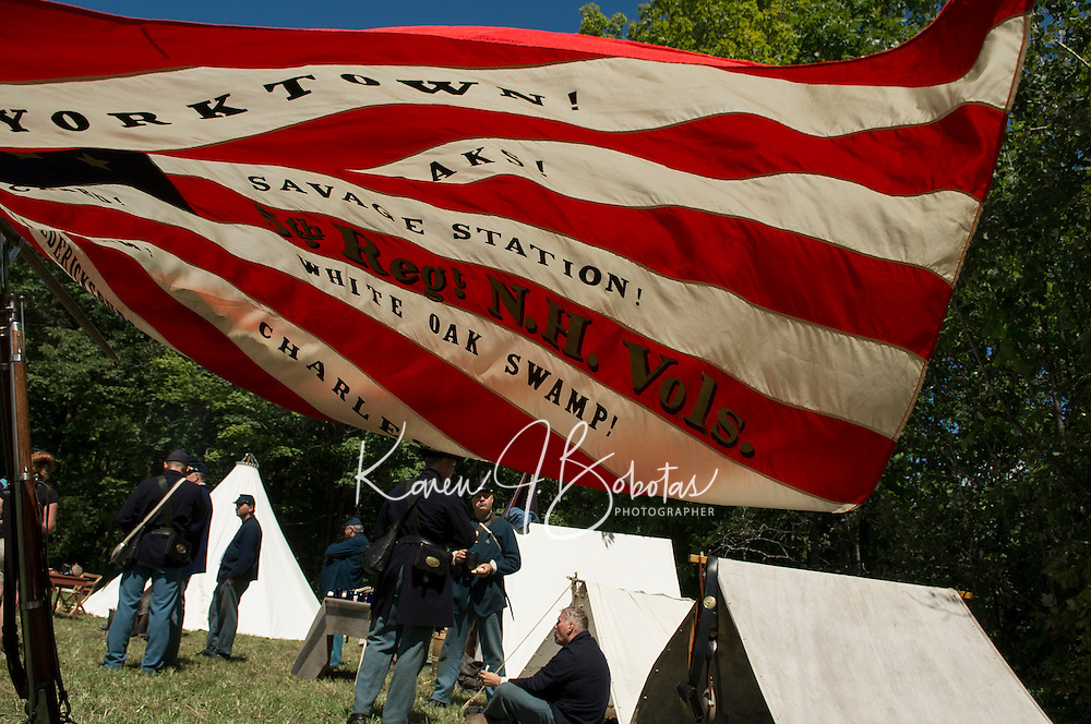 5th NH Volunteer Civil War encampment during Sanbornton's Old Home Day festivities on Saturday.  (Karen Bobotas/for the Concord Monitor)