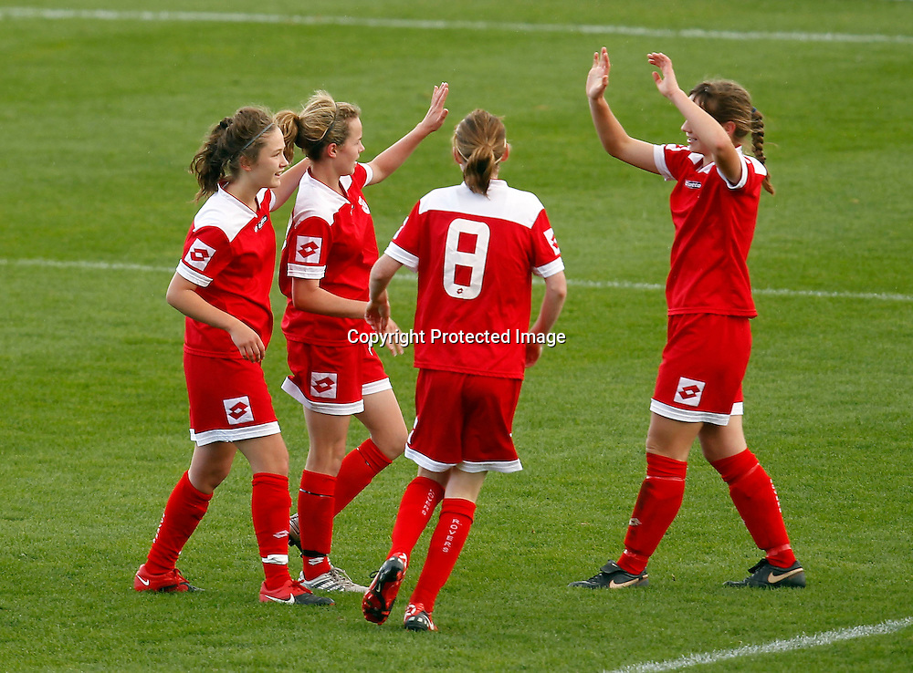Rovers celebrate a goal. Women's Knockout Cup Final, Three Kings United v Claudelands Rovers, North Harbour Stadium, Albany, Sunday 19th September 2010. Photo: Shane Wenzlick/PHOTOSPORT